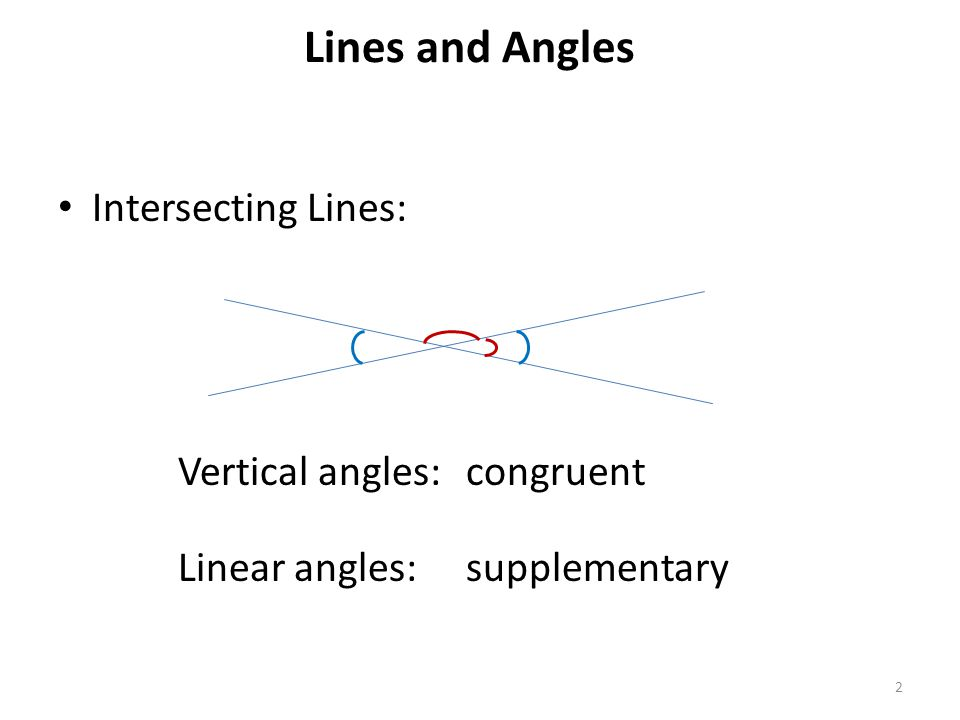 Lines and Angles 2 Intersecting Lines: Vertical angles:congruent Linear angles:supplementary