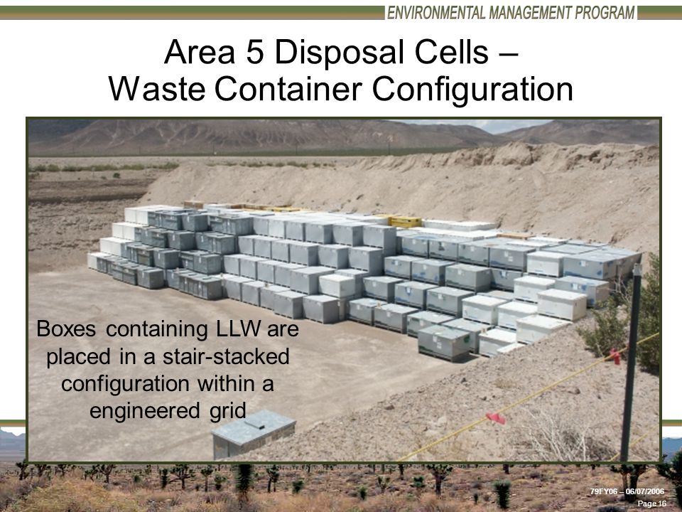 Page 16 79FY06 – 06/07/2006 Area 5 Disposal Cells – Waste Container Configuration Boxes containing LLW are placed in a stair-stacked configuration within a engineered grid