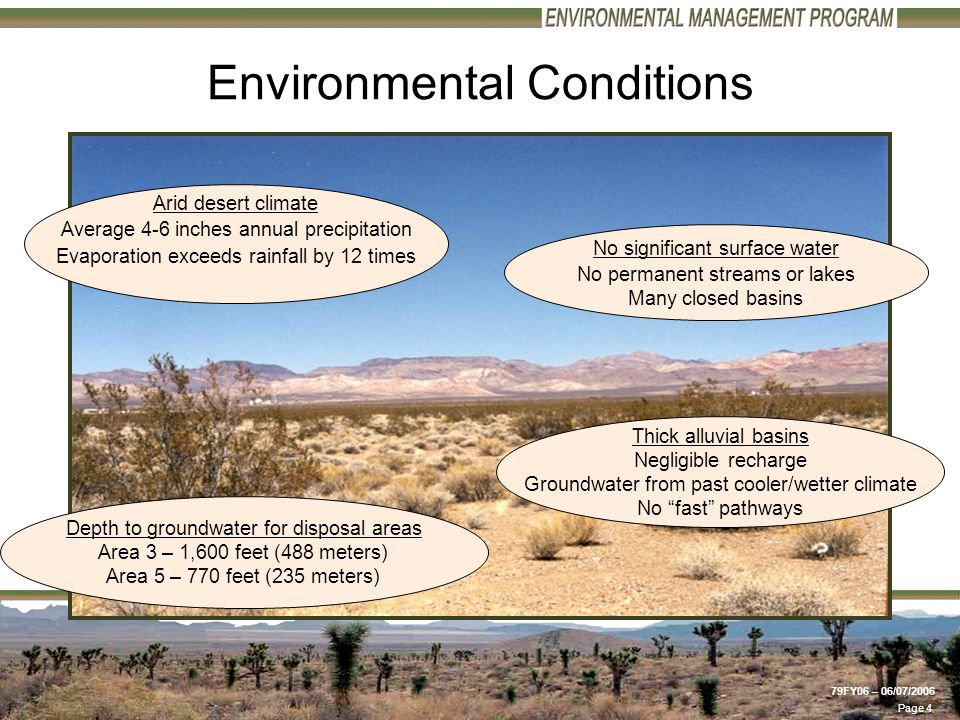 Page 4 79FY06 – 06/07/2006 Arid desert climate Average 4-6 inches annual precipitation Evaporation exceeds rainfall by 12 times Depth to groundwater for disposal areas Area 3 – 1,600 feet (488 meters) Area 5 – 770 feet (235 meters) Thick alluvial basins Negligible recharge Groundwater from past cooler/wetter climate No fast pathways Environmental Conditions No significant surface water No permanent streams or lakes Many closed basins
