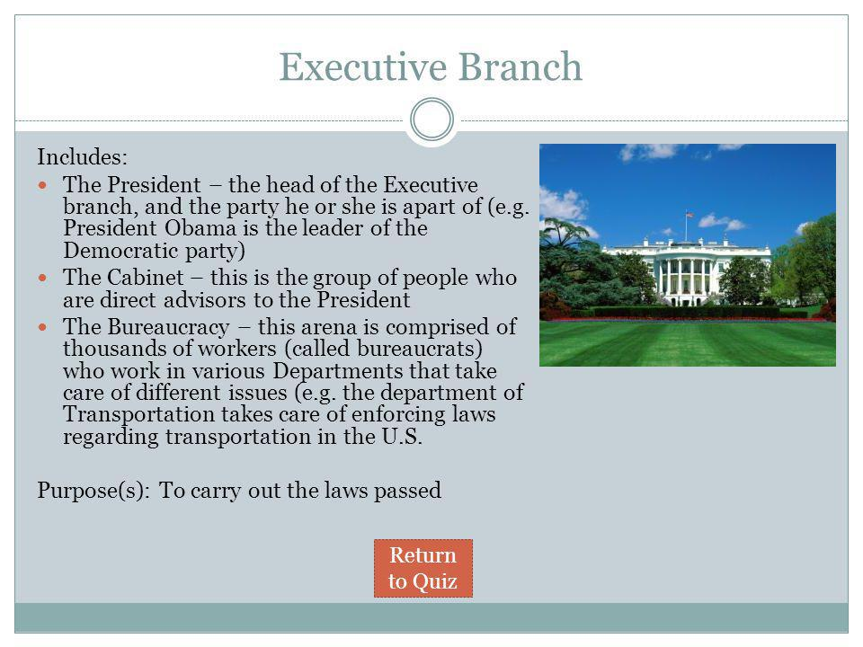 Executive Branch Includes: The President – the head of the Executive branch, and the party he or she is apart of (e.g. President Obama is the leader o
