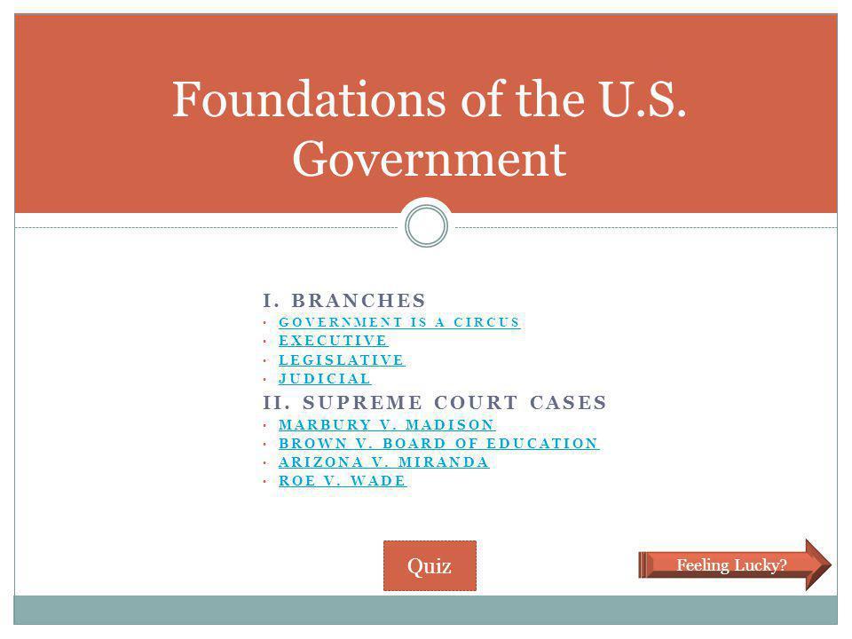 I. BRANCHES GOVERNMENT IS A CIRCUS EXECUTIVE LEGISLATIVE JUDICIAL II. SUPREME COURT CASES MARBURY V. MADISON BROWN V. BOARD OF EDUCATION ARIZONA V. MI
