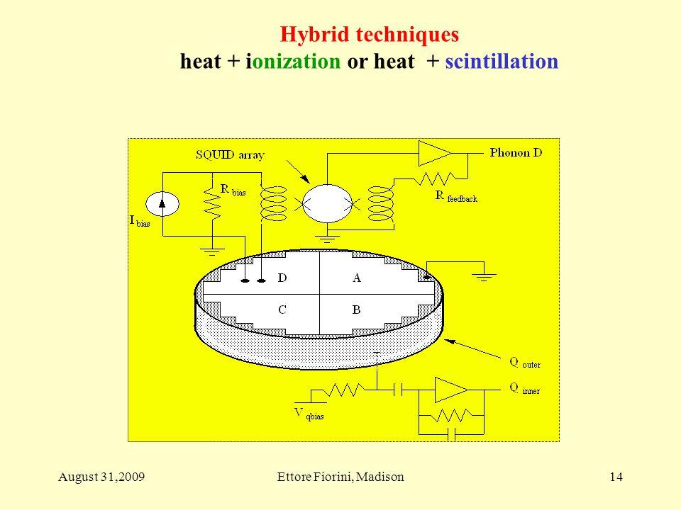 14 Hybrid techniques heat + ionization or heat + scintillation August 31,2009Ettore Fiorini, Madison