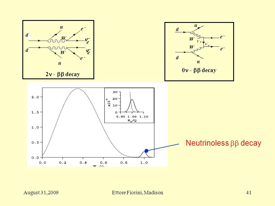 0 -  decay e - e - d d u u W W e e Neutrinoless  decay 41August 31,2009Ettore Fiorini, Madison
