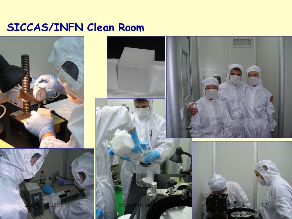 SICCAS/INFN Clean Room August 31,200959Ettore Fiorini, Madison