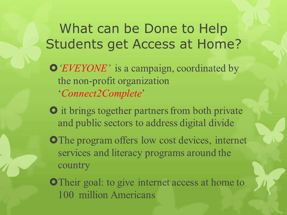 What can be Done to Help Students get Access at Home.