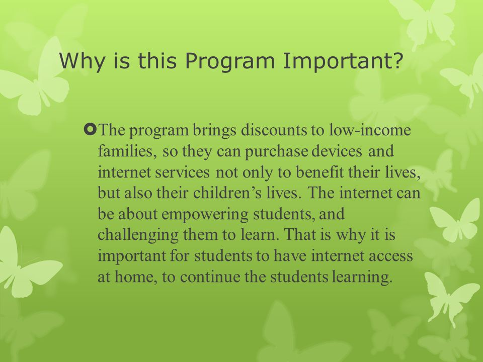 Why is this Program Important.