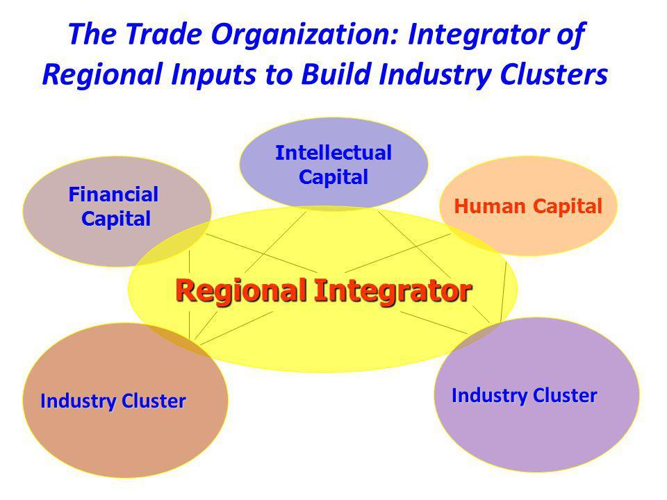 Human Capital Intellectual Capital FinancialCapital The Trade Organization: Integrator of Regional Inputs to Build Industry Clusters Regional Integrat