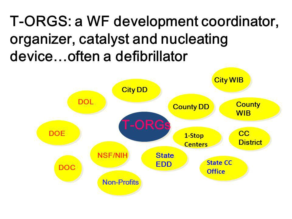 T-ORGS: a WF development coordinator, organizer, catalyst and nucleating device…often a defibrillator T-ORGs County DD NSF/NIH DOL City DD State EDD CC District 1-Stop Centers 1-Stop Centers State CC Office DOE Non-Profits County WIB City WIB DOC