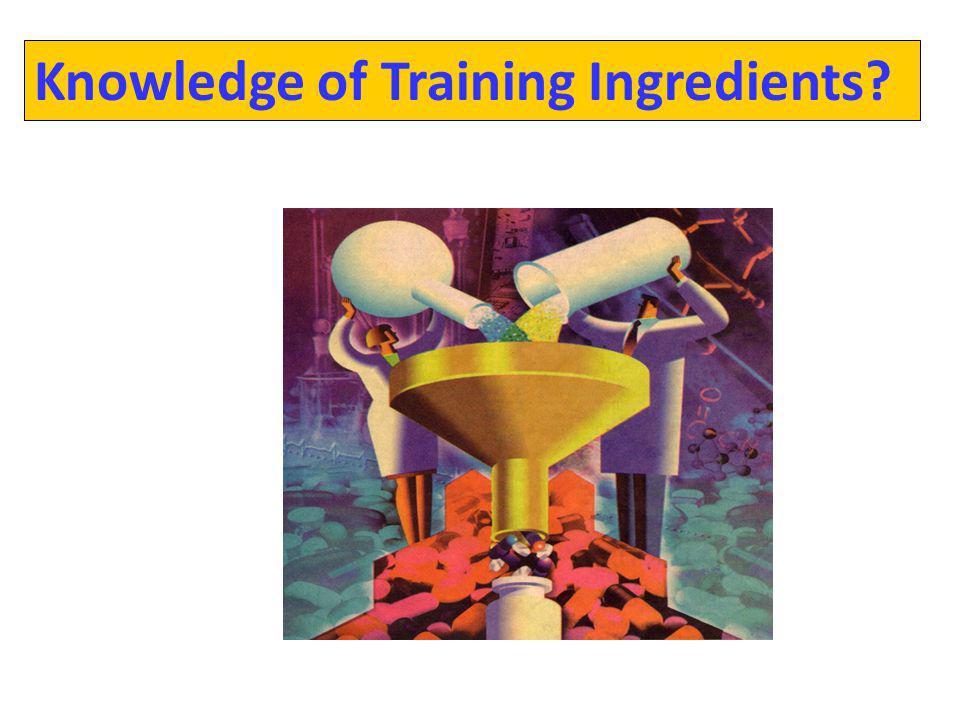 Knowledge of Training Ingredients?