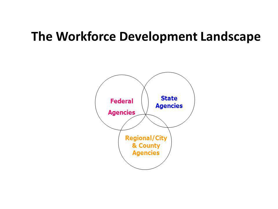 The Workforce Development Landscape Federal Agencies Regional/City & County Agencies State Agencies