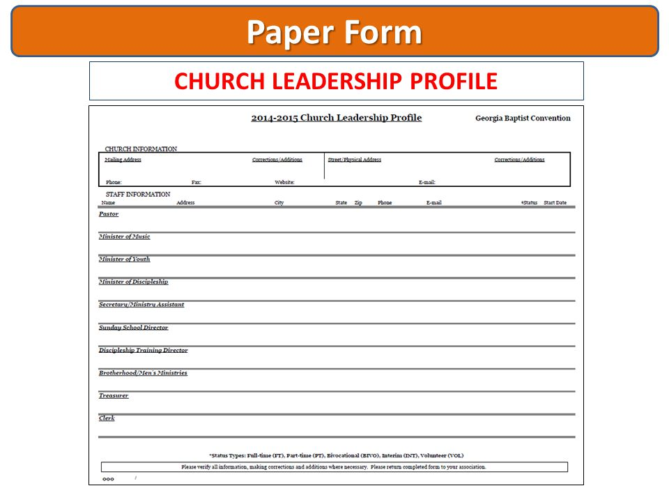Paper Form CHURCH LEADERSHIP PROFILE