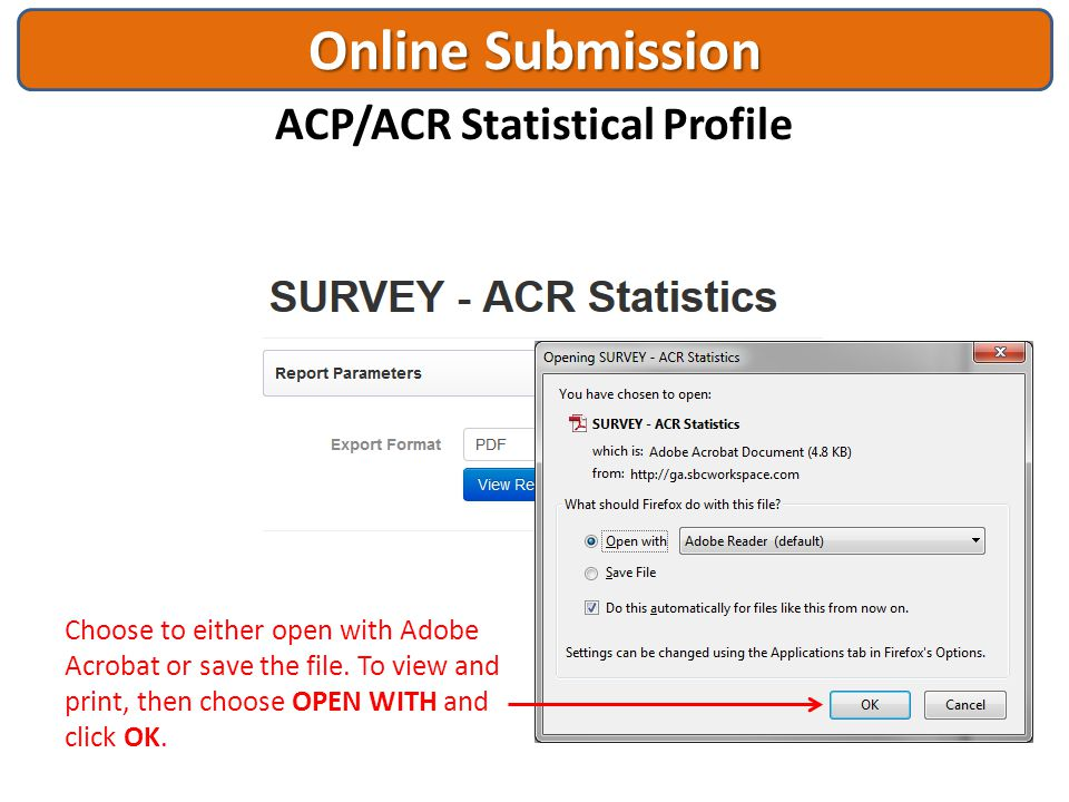 Online Submission ACP/ACR Statistical Profile Click Export to see the printable version of the report so that you can save it as a file or send to a p