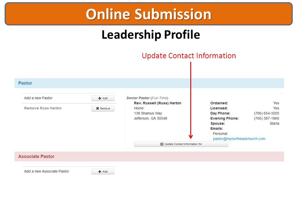 Online Submission Leadership Profile Update Contact Information
