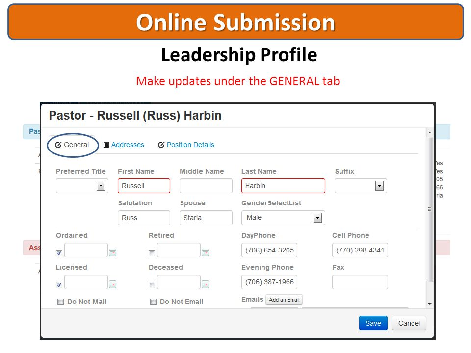 Online Submission Leadership Profile Make updates under the GENERAL tab