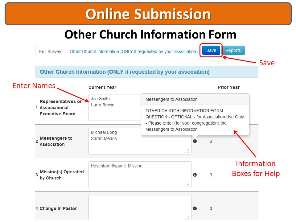 Online Submission Other Church Information Form Enter Names Information Boxes for Help Save