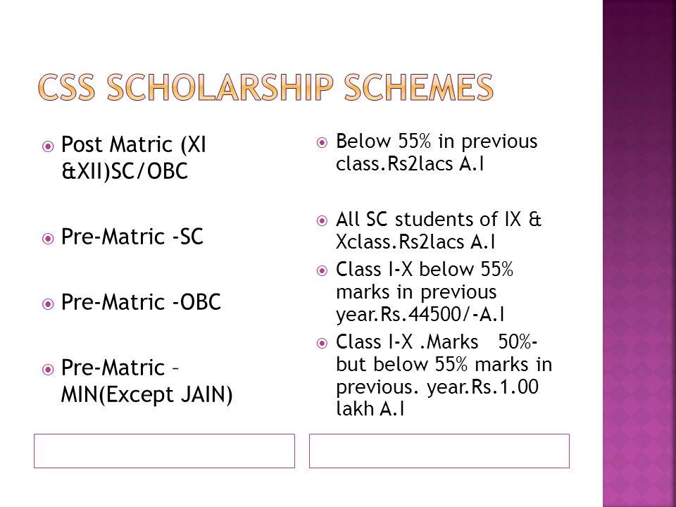  Post Matric (XI &XII)SC/OBC  Pre-Matric -SC  Pre-Matric -OBC  Pre-Matric – MIN(Except JAIN)  Below 55% in previous class.Rs2lacs A.I  All SC students of IX & Xclass.Rs2lacs A.I  Class I-X below 55% marks in previous year.Rs.44500/-A.I  Class I-X.Marks 50%- but below 55% marks in previous.