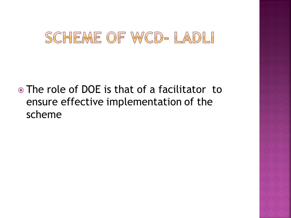  The role of DOE is that of a facilitator to ensure effective implementation of the scheme
