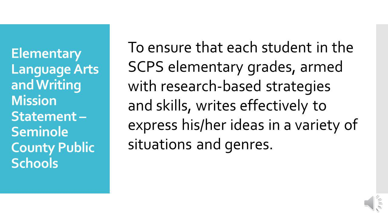 Writing Instructional Plan K-5 2014-2015 Seminole County Public Schools Department of Teaching and Learning Seminole County Public Schools Elementary Writing Website Seminole County Public Schools Elementary Writing Website