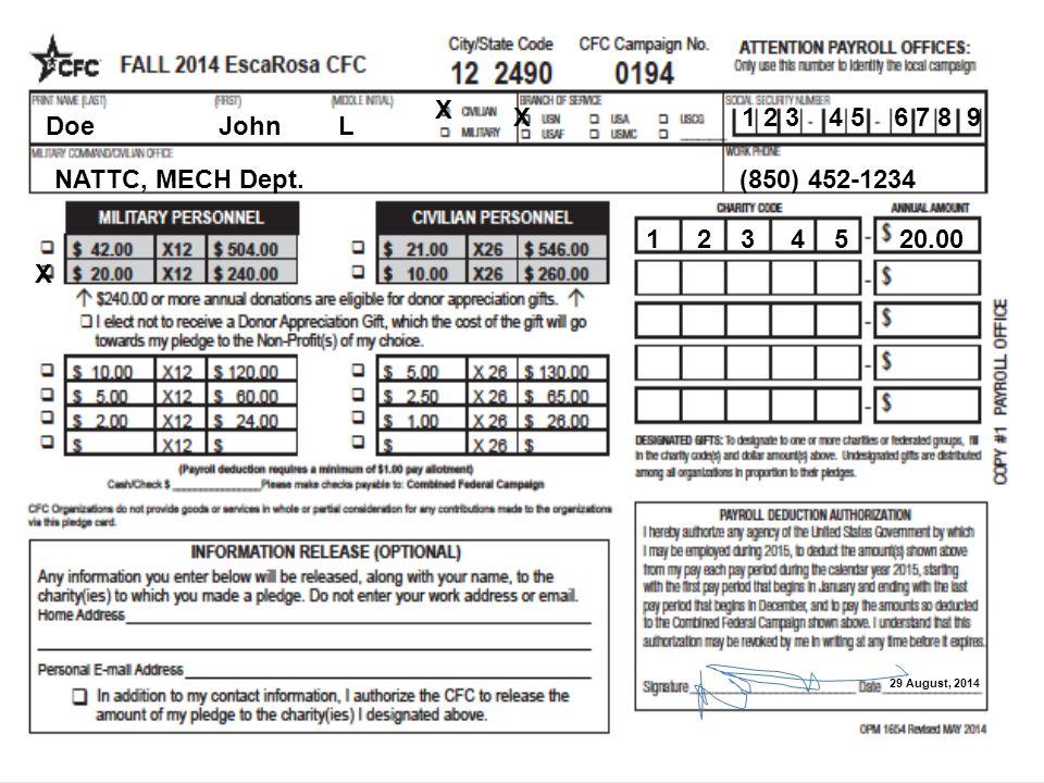 Doe John L X X1 2 3 4 5 6 7 8 9 NATTC, MECH Dept. (850) 452-1234 X 29 August, 2014 1 2 3 4 5 20.00