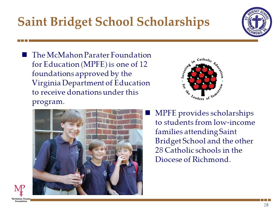 19 Donating Scholarships Contributions to MPFE under this program are used to provide scholarships to Catholic schools in the Diocese of Richmond.