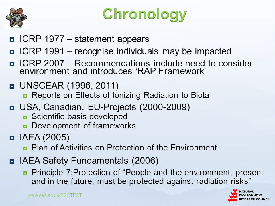  ICRP 1977 – statement appears  ICRP 1991 – recognise individuals may be impacted  ICRP 2007 – Recommendations include need to consider environment and introduces 'RAP Framework'  UNSCEAR (1996, 2011)  Reports on Effects of Ionizing Radiation to Biota  USA, Canadian, EU-Projects (2000-2009)  Scientific basis developed  Development of frameworks  IAEA (2005)  Plan of Activities on Protection of the Environment  IAEA Safety Fundamentals (2006)  Principle 7:Protection of People and the environment, present and in the future, must be protected against radiation risks www.ceh.ac.uk/PROTECT