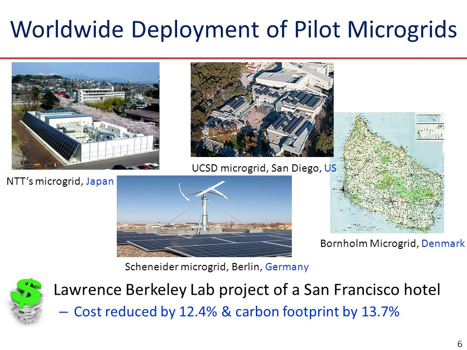 Worldwide Deployment of Pilot Microgrids □Lawrence Berkeley Lab project of a San Francisco hotel – Cost reduced by 12.4% & carbon footprint by 13.7% 6 NTT's microgrid, Japan Bornholm Microgrid, Denmark Scheneider microgrid, Berlin, Germany UCSD microgrid, San Diego, US