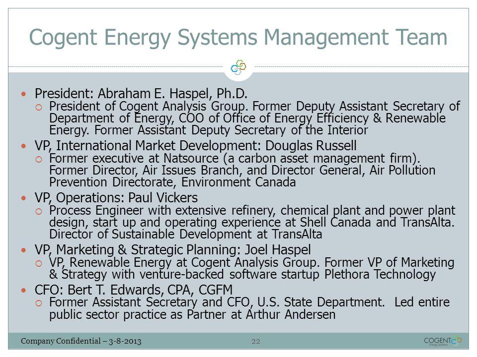 22 Company Confidential – 3-8-2013 Cogent Energy Systems Management Team President: Abraham E. Haspel, Ph.D.  President of Cogent Analysis Group. For