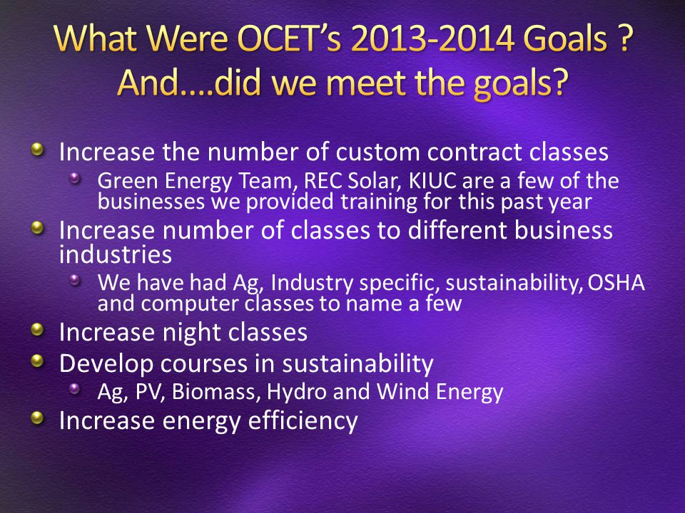 Increase the number of custom contract classes Green Energy Team, REC Solar, KIUC are a few of the businesses we provided training for this past year
