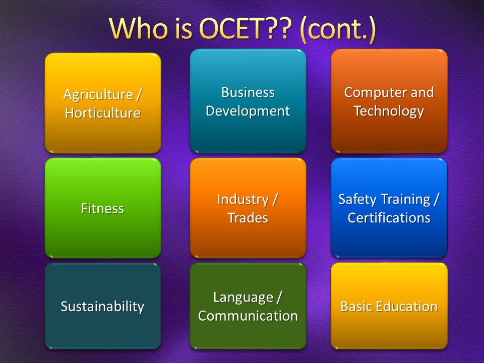 Computer and Technology Business Development Agriculture / Horticulture Horticulture Safety Training / Certifications Industry / Trades FitnessFitness