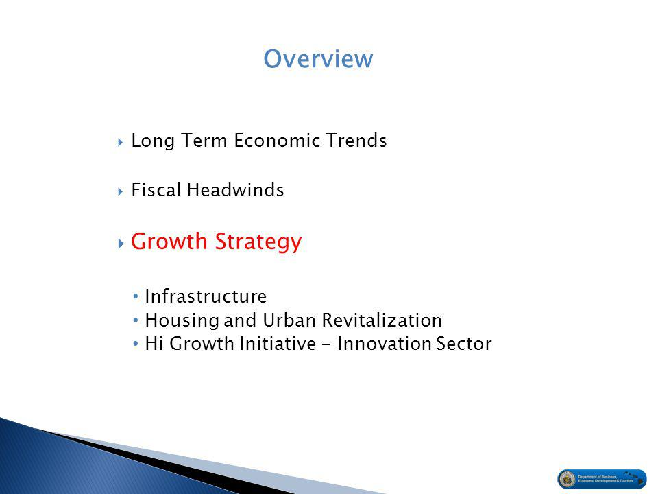 Overview  Long Term Economic Trends  Fiscal Headwinds  Growth Strategy Infrastructure Housing and Urban Revitalization Hi Growth Initiative - Innovation Sector