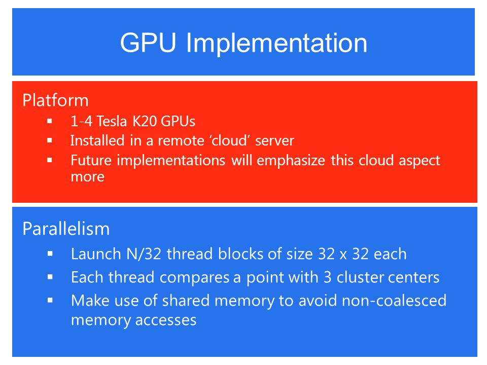 GPU Implementation Platform  1-4 Tesla K20 GPUs  Installed in a remote 'cloud' server  Future implementations will emphasize this cloud aspect more Parallelism  Launch N/32 thread blocks of size 32 x 32 each  Each thread compares a point with 3 cluster centers  Make use of shared memory to avoid non-coalesced memory accesses