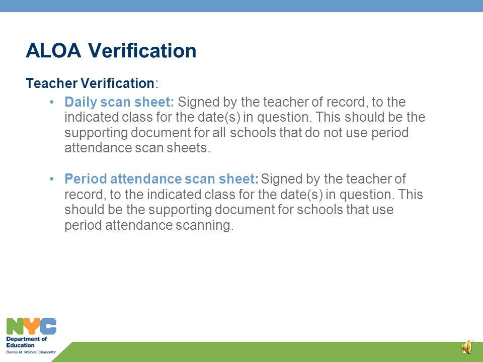 ALOA Verification 10