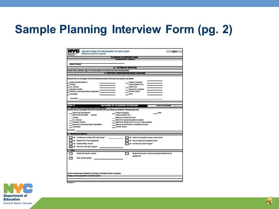 Sample Planning Interview Form (pg. 1) 18
