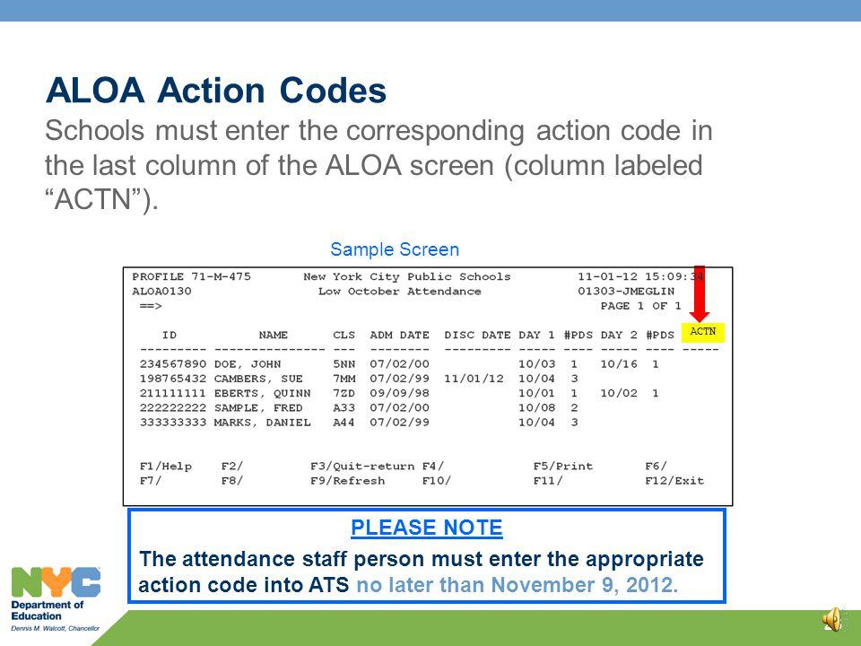 ALOA Action Codes 24