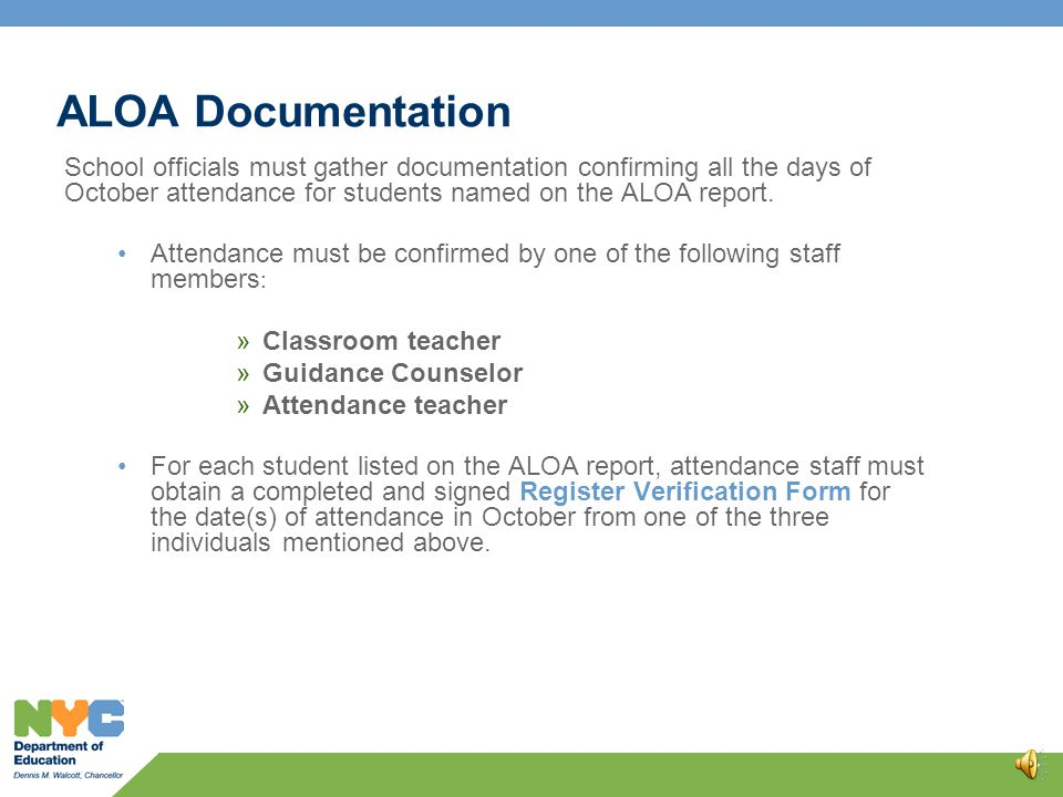 ALOA in ATS The ALOA report will be activated and available for review on November 1.