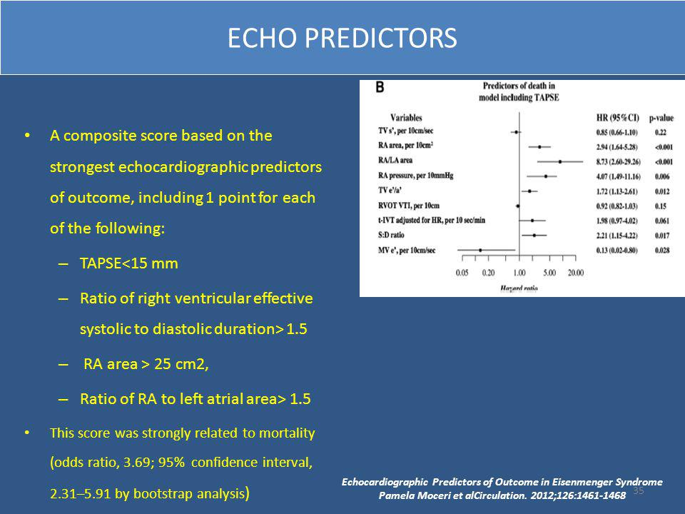 ECHO PREDICTORS A composite score based on the strongest echocardiographic predictors of outcome, including 1 point for each of the following: – TAPSE<15 mm – Ratio of right ventricular effective systolic to diastolic duration> 1.5 – RA area > 25 cm2, – Ratio of RA to left atrial area> 1.5 This score was strongly related to mortality (odds ratio, 3.69; 95% confidence interval, 2.31–5.91 by bootstrap analysis ) Echocardiographic Predictors of Outcome in Eisenmenger Syndrome Pamela Moceri et alCirculation.