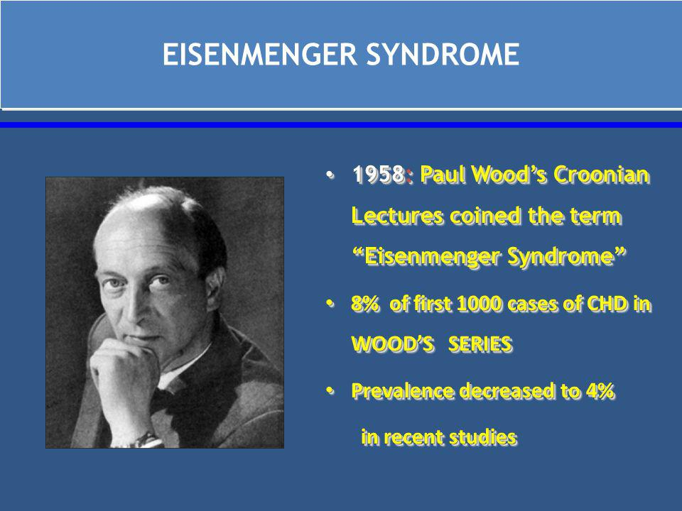 EISENMENGER SYNDROME 1958: Paul Wood's Croonian Lectures coined the term Eisenmenger Syndrome 1958: Paul Wood's Croonian Lectures coined the term Eisenmenger Syndrome 8% of first 1000 cases of CHD in WOOD'S SERIES 8% of first 1000 cases of CHD in WOOD'S SERIES Prevalence decreased to 4% Prevalence decreased to 4% in recent studies in recent studies 1958: Paul Wood's Croonian Lectures coined the term Eisenmenger Syndrome 1958: Paul Wood's Croonian Lectures coined the term Eisenmenger Syndrome 8% of first 1000 cases of CHD in WOOD'S SERIES 8% of first 1000 cases of CHD in WOOD'S SERIES Prevalence decreased to 4% Prevalence decreased to 4% in recent studies in recent studies