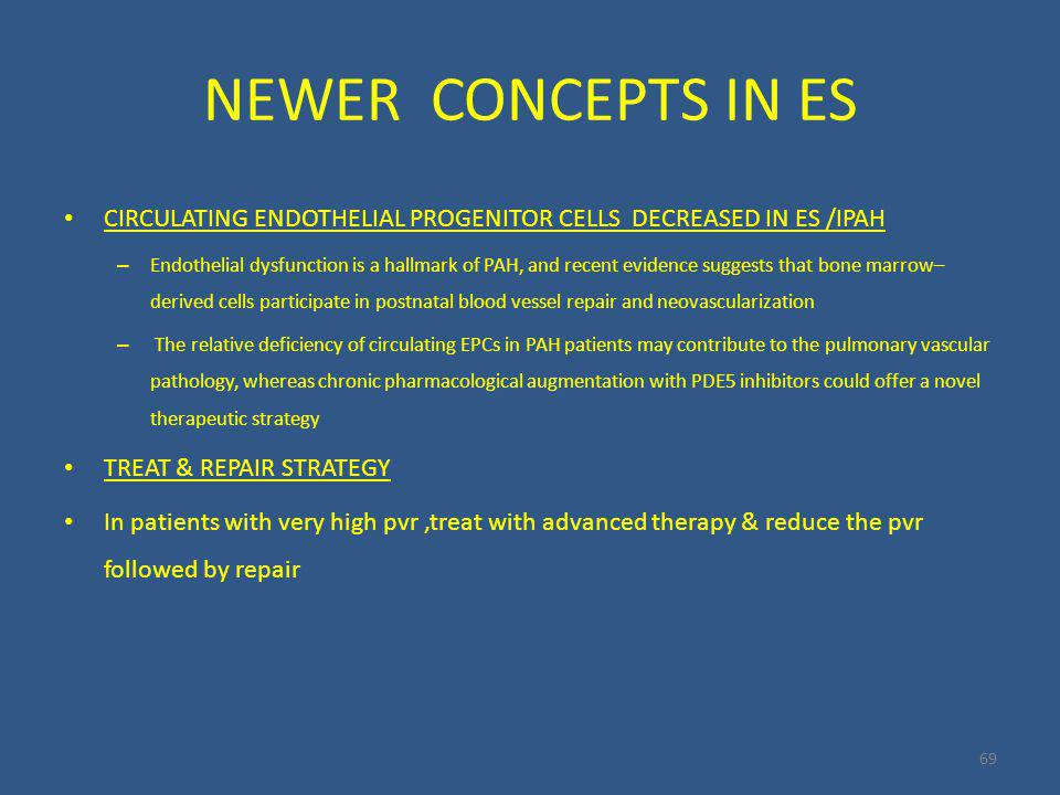 NEWER CONCEPTS IN ES 69 CIRCULATING ENDOTHELIAL PROGENITOR CELLS DECREASED IN ES /IPAH – Endothelial dysfunction is a hallmark of PAH, and recent evidence suggests that bone marrow– derived cells participate in postnatal blood vessel repair and neovascularization – The relative deficiency of circulating EPCs in PAH patients may contribute to the pulmonary vascular pathology, whereas chronic pharmacological augmentation with PDE5 inhibitors could offer a novel therapeutic strategy TREAT & REPAIR STRATEGY In patients with very high pvr,treat with advanced therapy & reduce the pvr followed by repair
