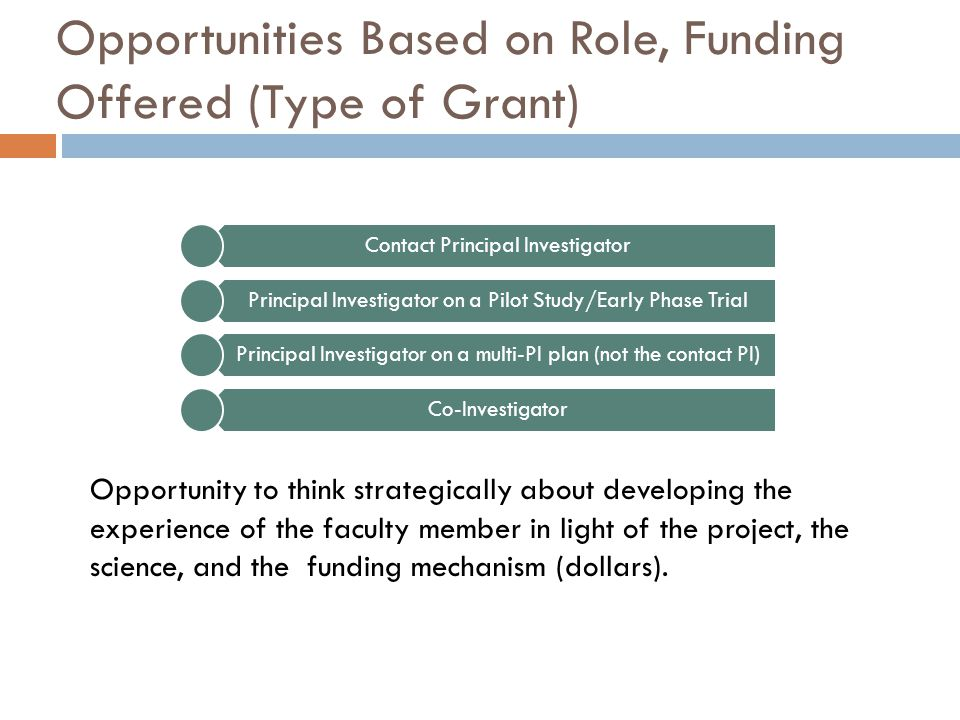 Opportunities Based on Role, Funding Offered (Type of Grant) Contact Principal Investigator Principal Investigator on a Pilot Study/Early Phase Trial Principal Investigator on a multi-PI plan (not the contact PI) Co-Investigator Opportunity to think strategically about developing the experience of the faculty member in light of the project, the science, and the funding mechanism (dollars).