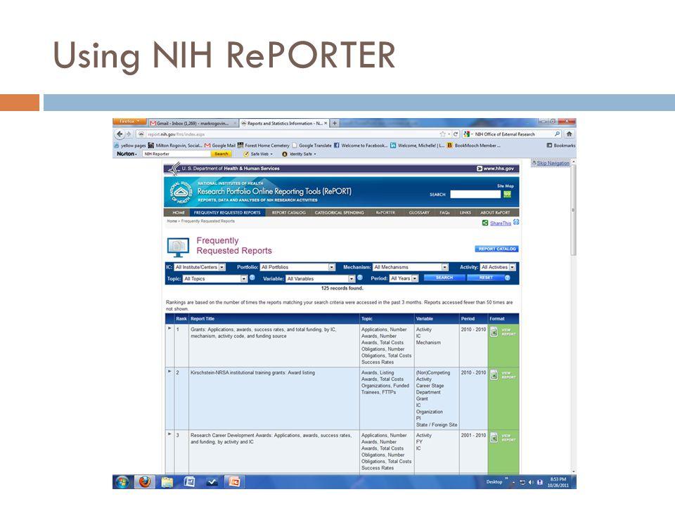 Using NIH RePORTER