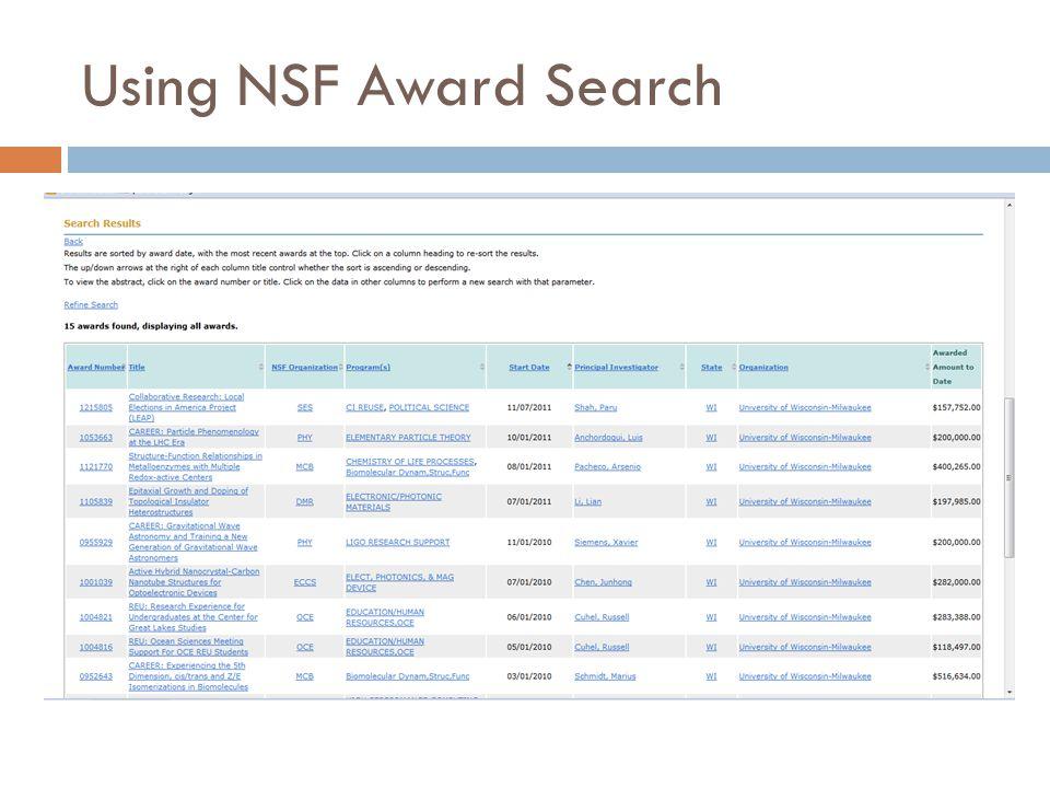 Using NSF Award Search