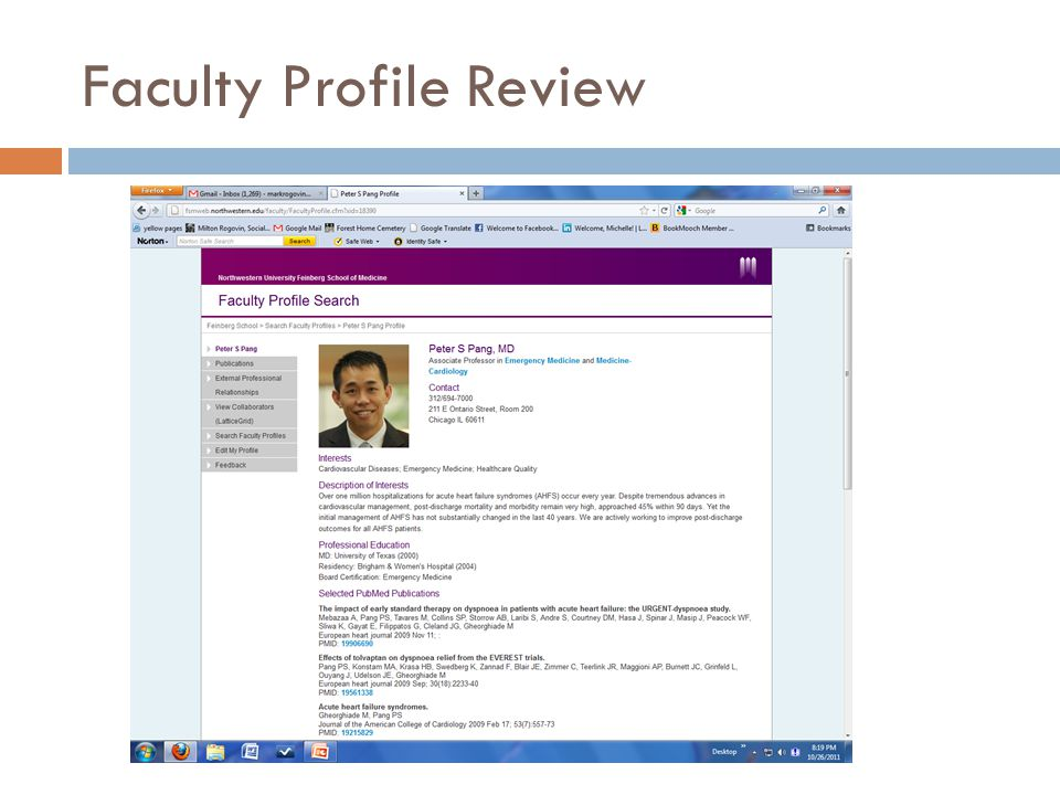 Faculty Profile Review