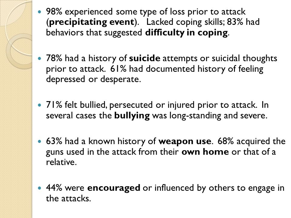 98% experienced some type of loss prior to attack (precipitating event). Lacked coping skills; 83% had behaviors that suggested difficulty in coping.