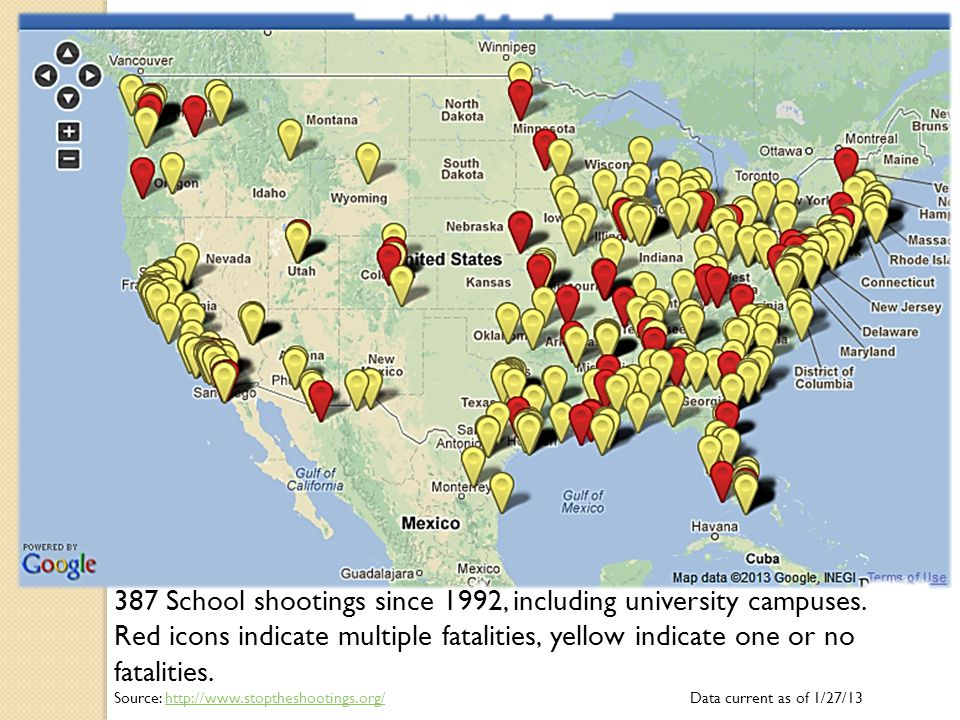 387 School shootings since 1992, including university campuses. Red icons indicate multiple fatalities, yellow indicate one or no fatalities. Source: