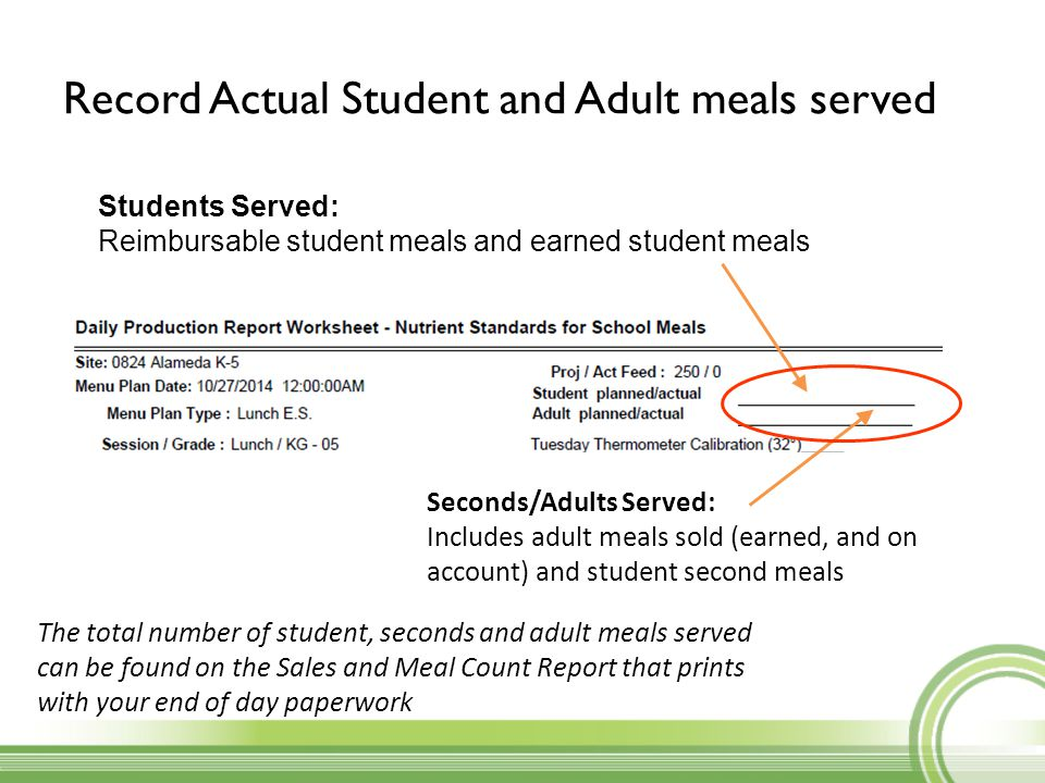 Record Actual Student and Adult meals served Students Served: Reimbursable student meals and earned student meals Seconds/Adults Served: Includes adul
