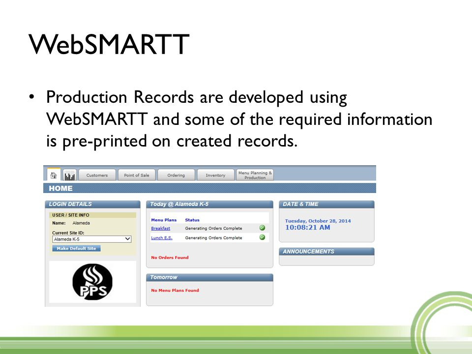 Key Points You are required to serve all items menued on the production record.