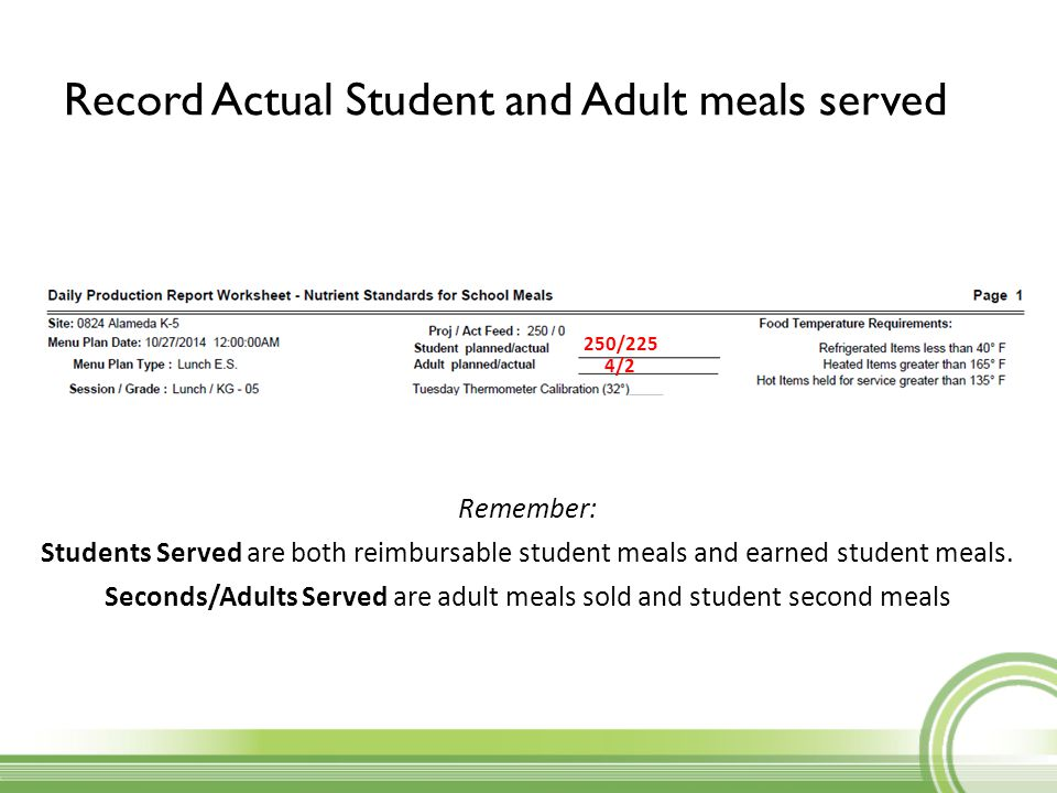 4/2 250/225 Remember: Students Served are both reimbursable student meals and earned student meals. Seconds/Adults Served are adult meals sold and stu