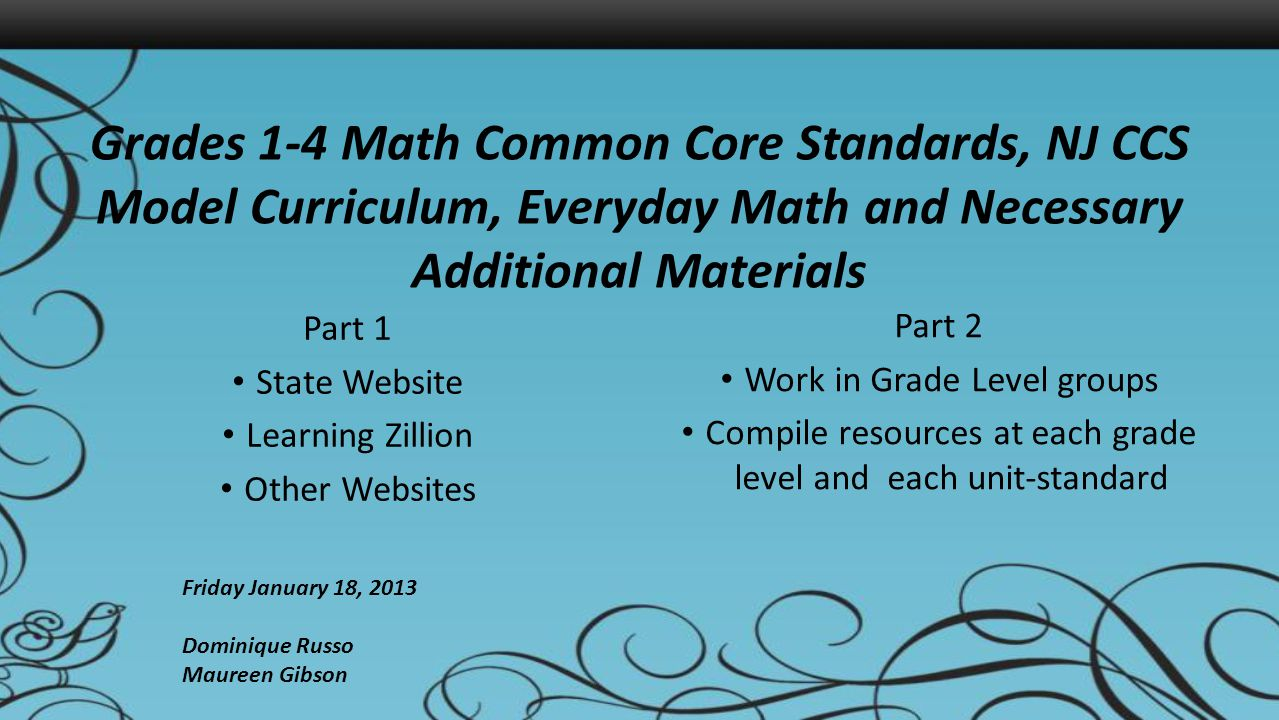 Grades 1-4 Math Common Core Standards, NJ CCS Model Curriculum, Everyday Math and Necessary Additional Materials Part 1 State Website Learning Zillion Other Websites Part 2 Work in Grade Level groups Compile resources at each grade level and each unit-standard Friday January 18, 2013 Dominique Russo Maureen Gibson
