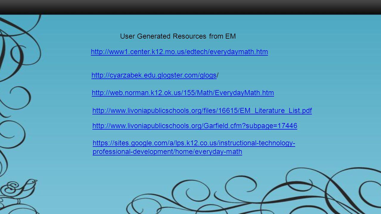 http://www1.center.k12.mo.us/edtech/everydaymath.htm http://cyarzabek.edu.glogster.com/glogshttp://cyarzabek.edu.glogster.com/glogs/ http://web.norman