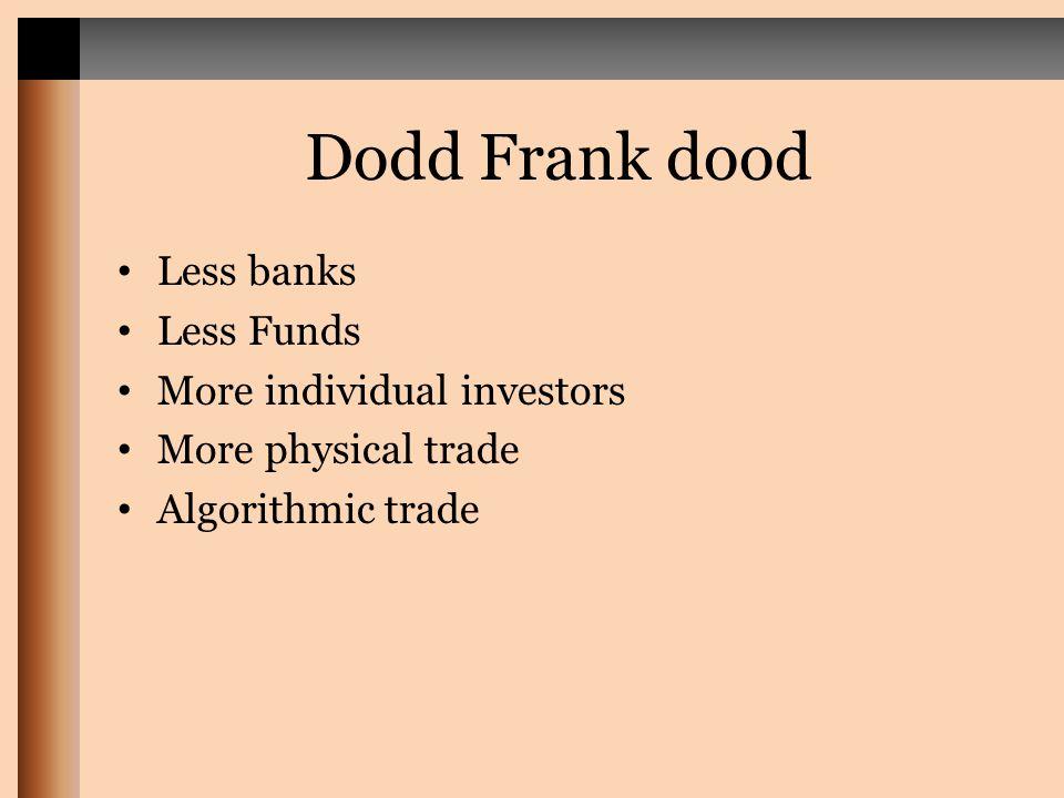Dodd Frank dood Less banks Less Funds More individual investors More physical trade Algorithmic trade